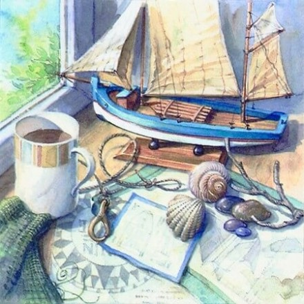 Χαρτοπετσέτα για Decoupage, Maritime Setting on Windowsill / 370011