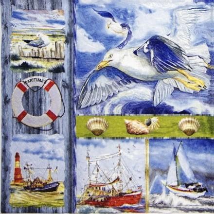 Χαρτοπετσέτα για Decoupage, Coastal Collage / 370056