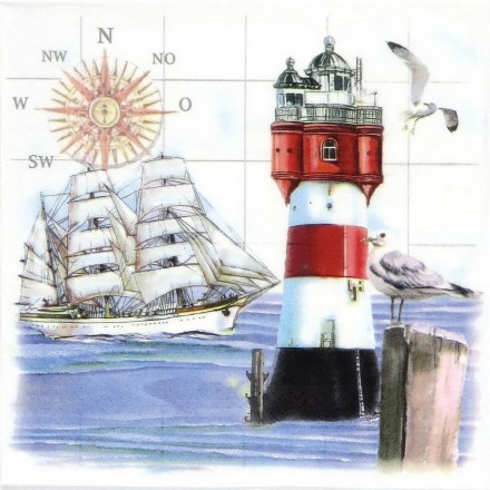 Χαρτοπετσέτα για Decoupage, Lighthouse and Compass / 370560