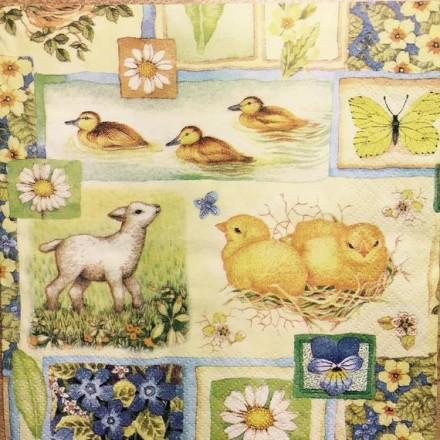 Χαρτοπετσέτα για Decoupage, Springtime Collage / 380010