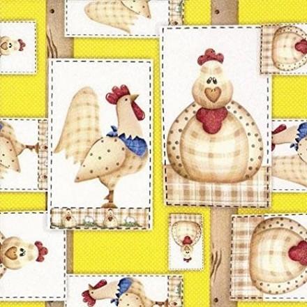 Χαρτοπετσέτα για Decoupage, Gallo y Gallina (yellow) / 383322