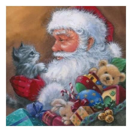 Χριστουγιεννιάτικη Χαρτοπετσέτα για Decoupage, Santa with Kitten / 303425