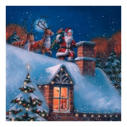 Χριστουγιεννιάτικη Χαρτοπετσέτα για Decoupage, Santa on Rooftop with Reindeer / 303533