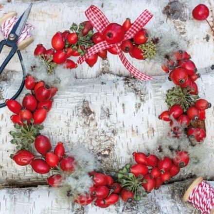 Χριστουγιεννιάτικη Χαρτοπετσέτα για Decoupage, Wreath of Rose Hips / 303653