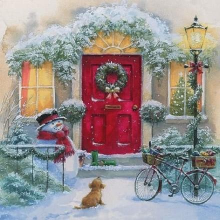 Χριστουγιεννιάτικη Χαρτοπετσέτα για Decoupage, Puppy & Snowman / 303740