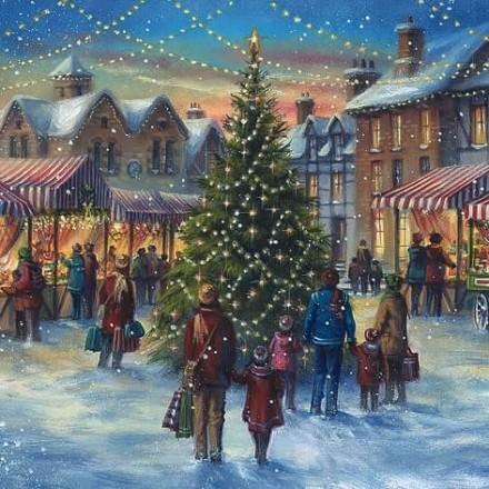 Χριστουγιεννιάτικη Χαρτοπετσέτα για Decoupage, Christmas Market / 310704