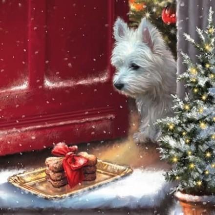Χριστουγιεννιάτικη Χαρτοπετσέτα για Decoupage, Delicious Westie Treats / 310741