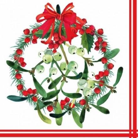 Χριστουγιεννιάτικη Χαρτοπετσέτα για Decoupage, Mistletoe Wreath / 312303