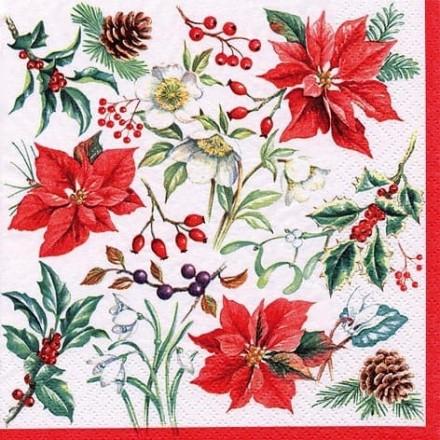 Χριστουγιεννιάτικη Χαρτοπετσέτα για Decoupage, Fiori Invernali / 312305