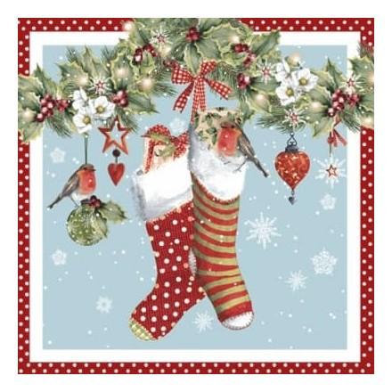 Χριστουγιεννιάτικη Χαρτοπετσέτα για Decoupage, Chaussettes avec Guirlande red / 314571