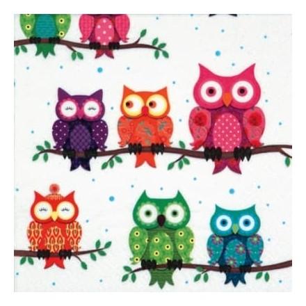 Χαρτοπετσέτα για Decoupage, Colourful Owls / 340562