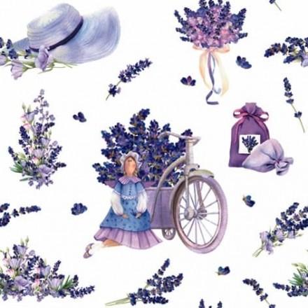 Χαρτοπετσέτα για Decoupage, Lavender Bouquets with Tilda Doll / 344598