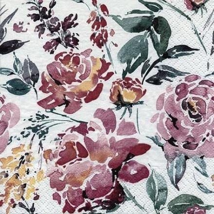 Χαρτοπετσέτα για Decoupage, Fleurs Lumineuses burgundy / 367750