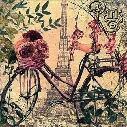 Χαρτοπετσέτα για Decoupage, Vélo à Paris / 373436