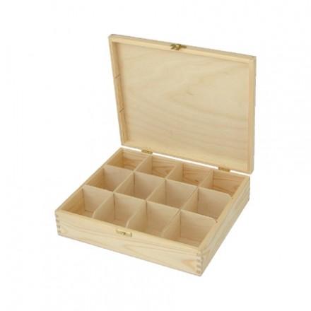 Ξύλινο Κουτί με 12 θήκες, 29,5*25*8cm